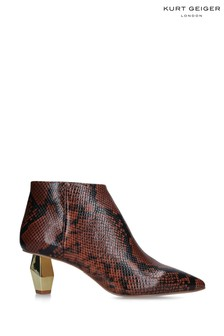 Kurt Geiger Ladies Della Brown Snake Print Boots