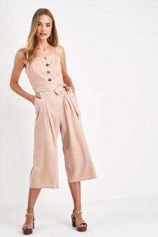 Linen Blend Button Jumpsuit