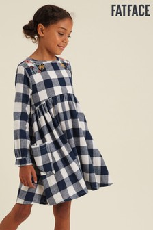 FatFace Blue Buffalo Check Embroidered Dress