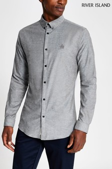 River Island Grey Muscle Oxford Shirt