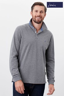 Joules Grey Woodwell Long Sleeve Polo