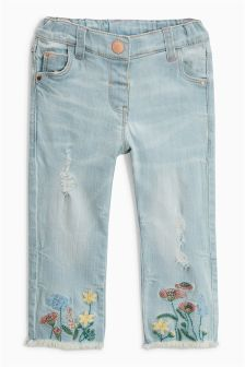 Floral Embroidered Hem Jeans (3mths-6yrs)