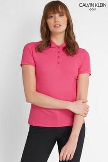 Calvin Klein Golf Pink Performance Cotton Blend Pique Poloshirt