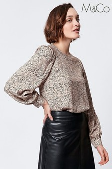 M&Co Animal Print Shell Blouse