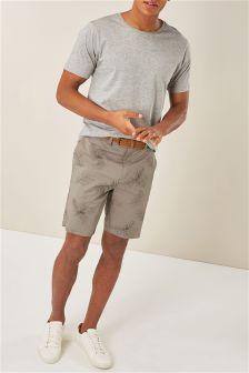 Leaf Print Belted Shorts
