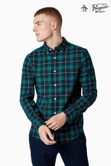 Original Penguin® Blue Long Sleeve Plaid Check Shirt