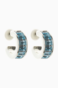 Blue Baguette Hoop Earrings