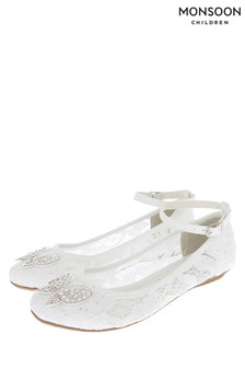 Ballerines Monsoon Monsoon Alisia en dentelle ivoire brillantes