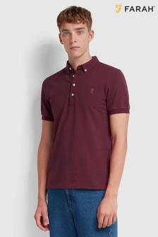 Farah Short Sleeved Pique Poloshirt With Embroidered Chest Placement Logo