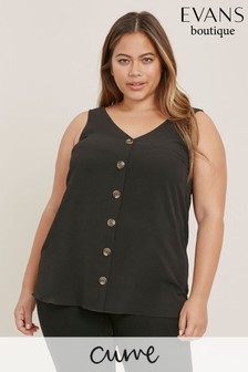 Evans Curve Black Button Cami Top