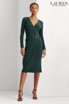 Lauren Ralph Lauren® Pine Green Stretch Wrap Nettie Dress