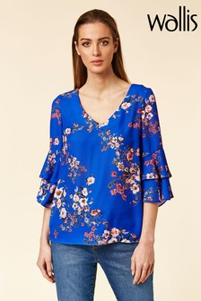 Wallis Botanical Floral Flute Sleeve Shirt