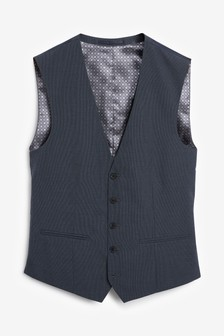 Wool Mix Textured Suit: Waistcoat