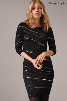 Phase Eight Grey Saya Wave Sequin Dress