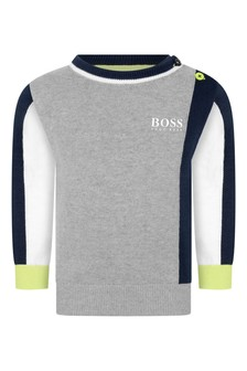 Baby Boys Grey And Navy Cotton Sweater