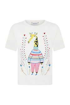 Girls Cream Cotton Giraffe T-Shirt