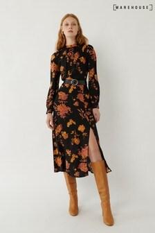 Warehouse Orange Wall Flower Midi Dress