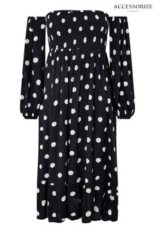 Accessorize Black Puff Sleeve Midi Spot Print Dress