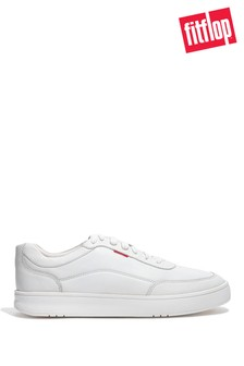 FitFlop White Men's Rally X Leather Trainers