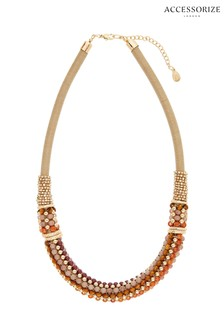 Accessorize Pink Botswana Beaded Collar Necklace