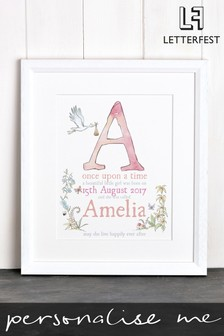 Personalised New Baby Details Framed Print by Letterfest
