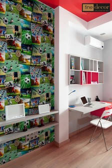 UK Novelty Football Collage Wallpaper by Fine Décor
