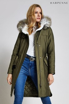 Harpenne Khaki Faux Fur Trim Parka Coat