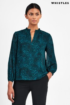 Whistles Teal Big Cat Top