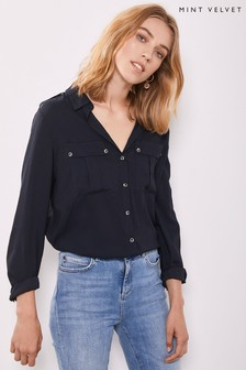Mint Velvet Blue Ink Utility Shirt
