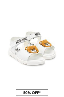 Moschino Kids White Leather Sandals
