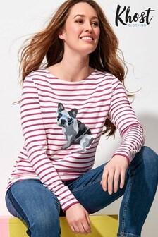 Khost Cream Frenchie Dog Stripe Top