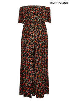 River Island Black Print Evie/Georgie Dress