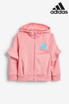 adidas Little Kids Pink Zip Through Hoody