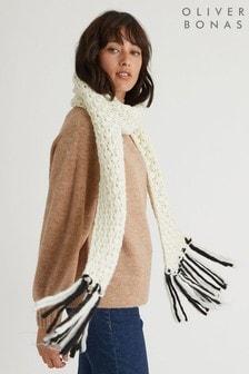 Oliver Bonas White Pom Mono Knitted Tassel Scarf