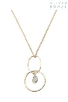 Oliver Bonas Gold Plated Jacopo Circle & Quartz Pendant Necklace