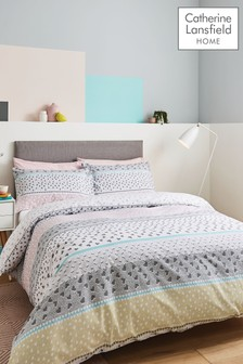 Catherine Lansfield Banded Ditsy Heart Duvet Cover and Pillowcase Set