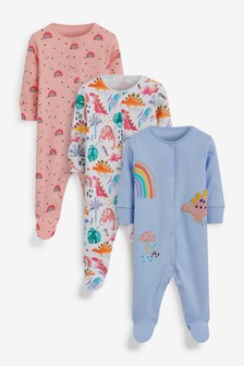 3 Pack Appliqué Character Sleepsuits (0-2yrs)