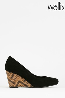 Wallis Black Waterlily Round Toe Wedge Courts