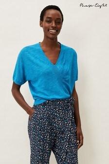 Phase Eight Blue Josie Linen Blend Top