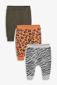 3 Pack Animal Print Joggers (0mths-2yrs)