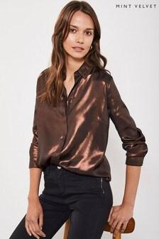 Mint Velvet Copper Multi Lame Pocket Front Shirt