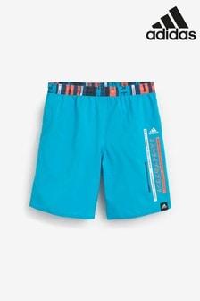 adidas Light Blue Logo Swim Shorts