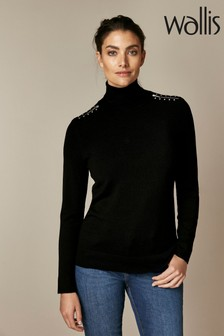 Wallis Black Stud Zip Roll Neck Jumper
