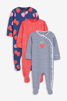 3 Pack Strawberry Sleepsuits (0mths-2yrs)