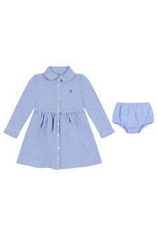 Baby Girls Blue Cotton Oxford Shirt Dress Set