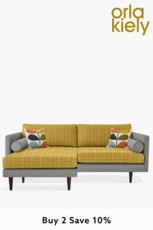 Orla Kiely Mimosa Large Chaise Sofa With Walnut Feet