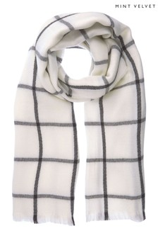 Mint Velvet Cream Check Cream Scarf