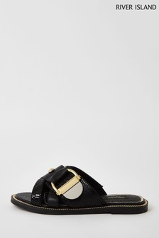 River Island Black Hardware Flat Sandals