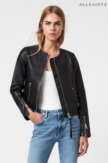 AllSaints Black Aster Leather Jacket