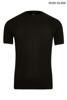 River Island Black Knitted T-Shirt